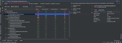 新测试矩阵可按状态、设备和 API 级别过滤测试结果