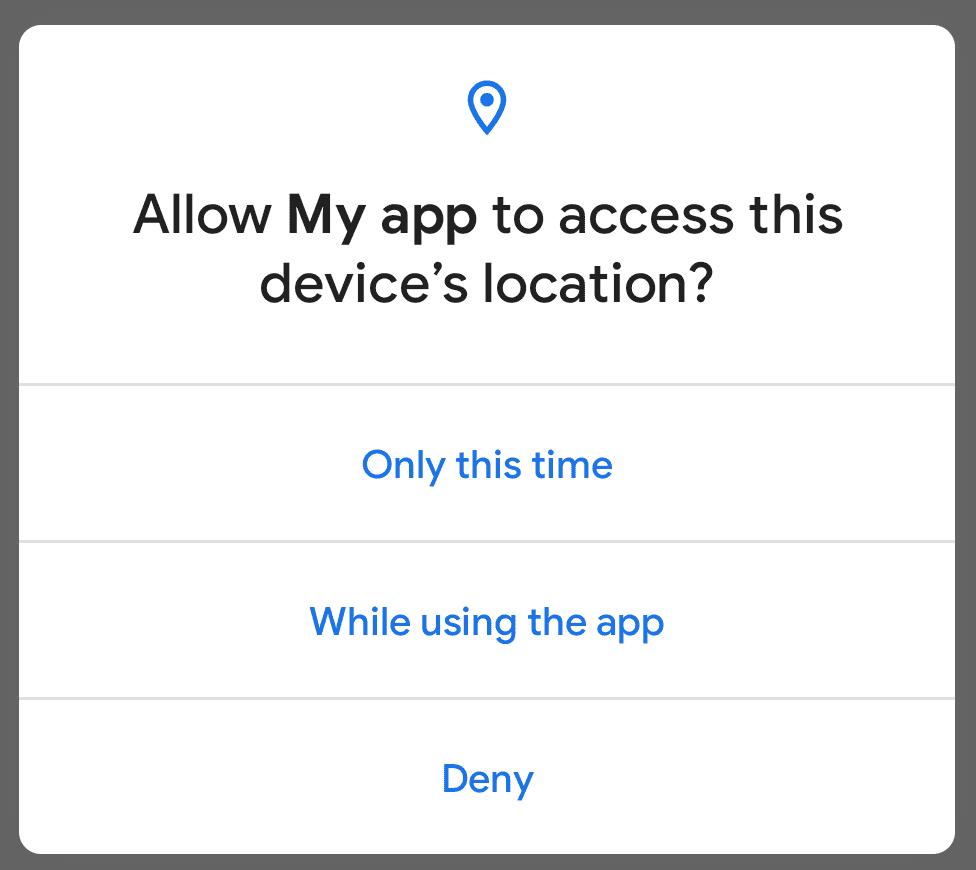 Android 11 中的单次授权对话框