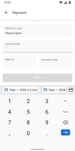 △ 软键盘显示信用卡号码自动填充内容