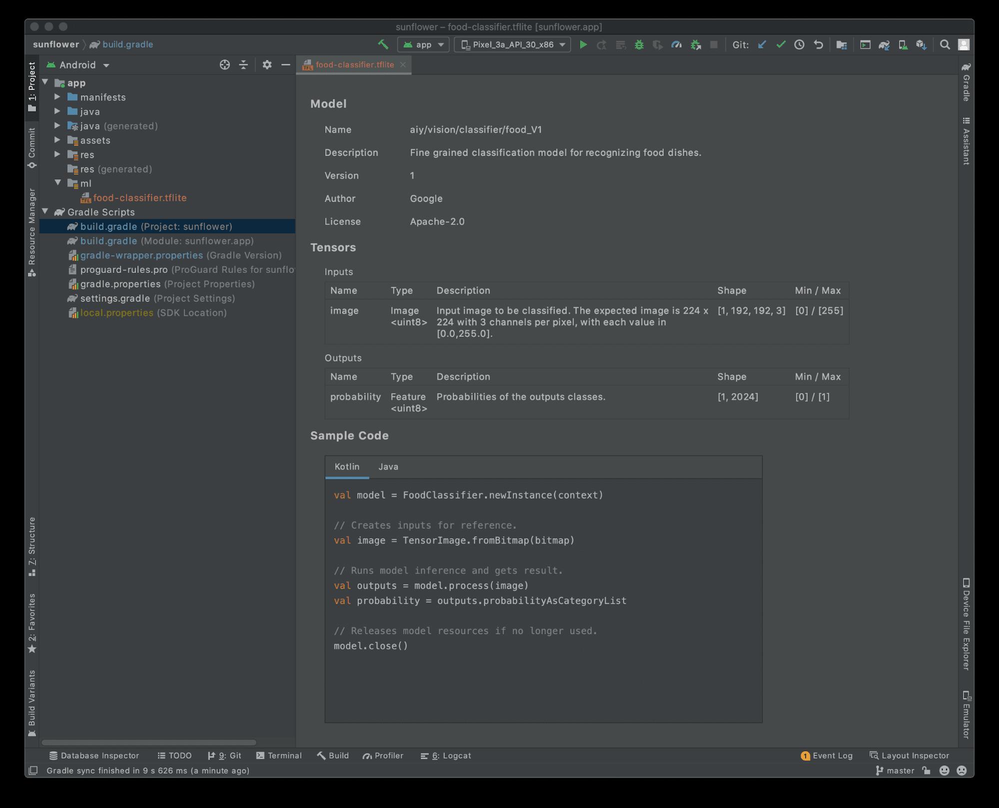 △ 在 Android Studio 4.1 中查看 TensorFlow Lite 模型元数据