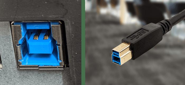 △ 左侧是 USB Type-B 母口,右侧是 USB Type-B 公口