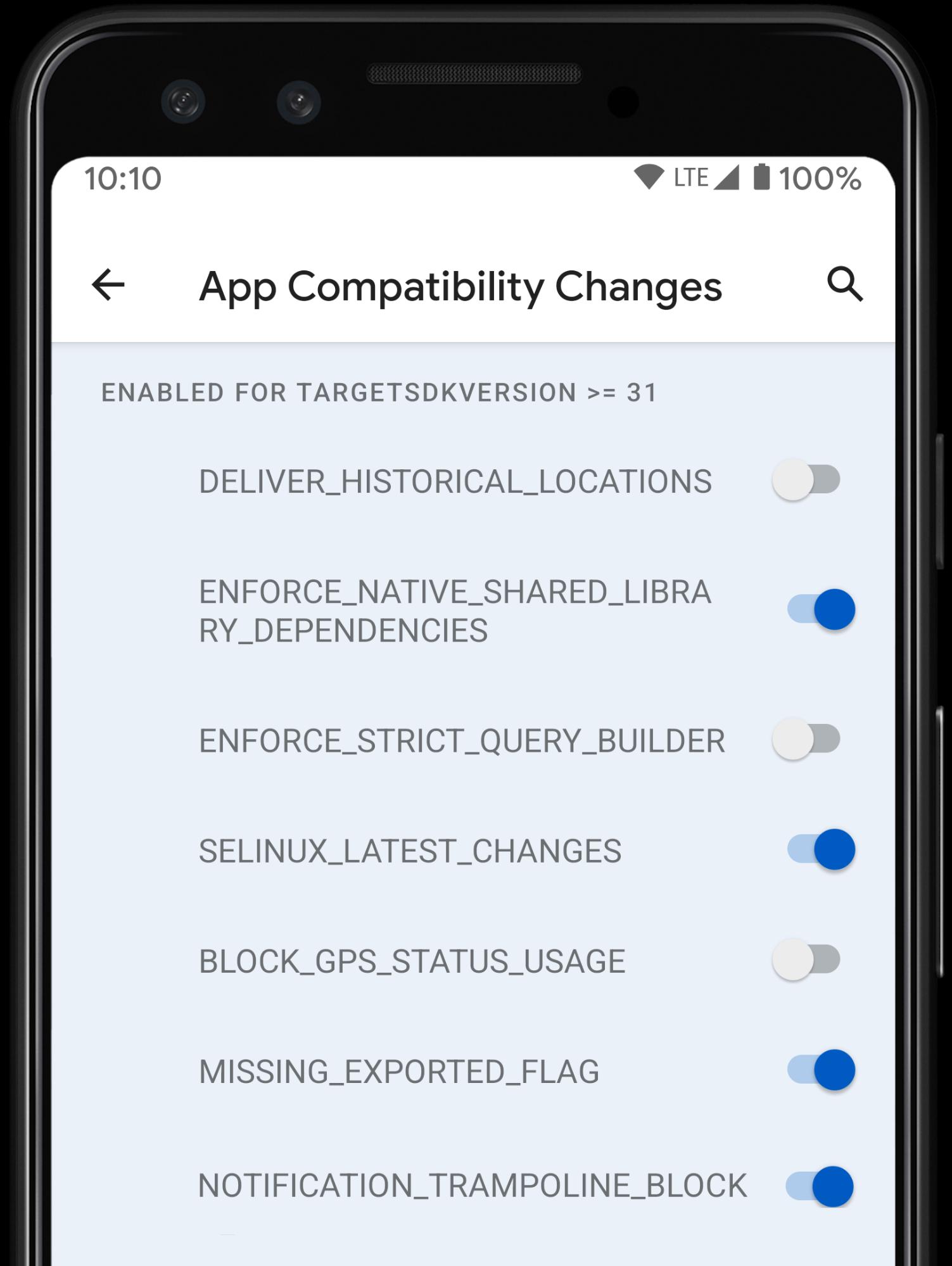 △ 开发者选项中的应用兼容性切换开关