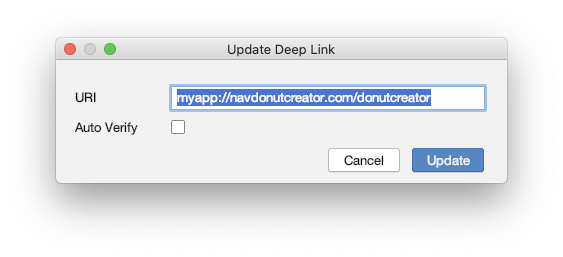 创建一个新的深层链接会打开一个对话框,您可以在这输入一个跳转到该目的地的深层链接 URI