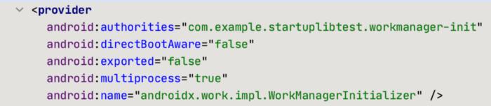 这个 provider 存在于添加 WorkManager 依赖后合并的 manifest 文件