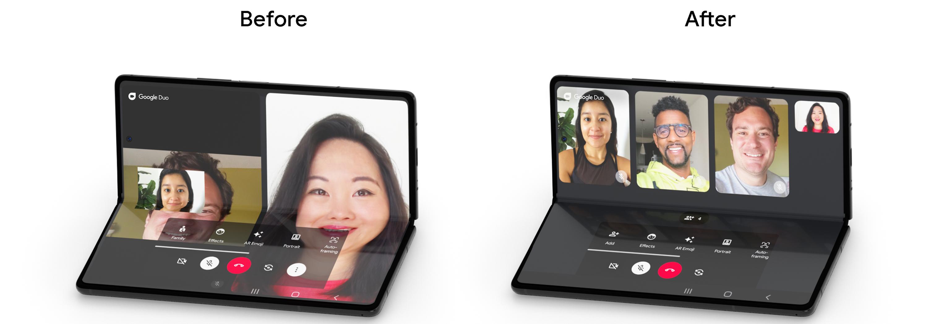 △ Google Duo 针对可折叠设备优化体验