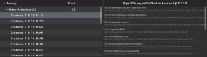 Flutter DevTools 内存标签页分配栈轨迹