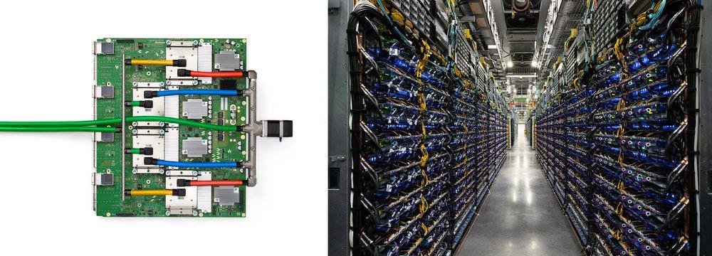 (左) TPU v4 芯片托盘;(右) 俄克拉荷马州数据中心的 TPU v4 pod
