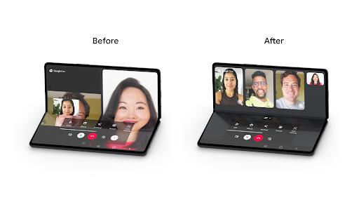 △ Google Duo 针对可折叠设备优化的体验