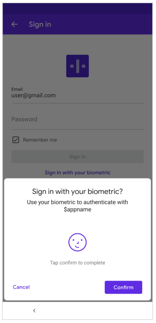 △ 图 2: 确认使用生物识别身份验证进行登录