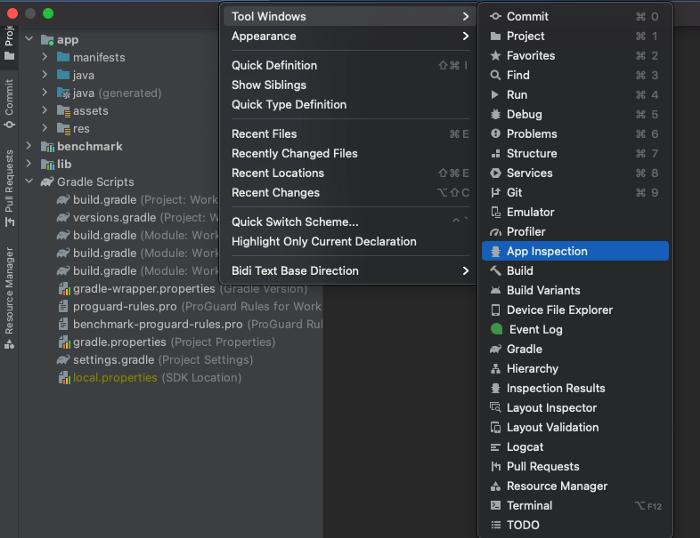 △ View > Tool Windows > App Inspection