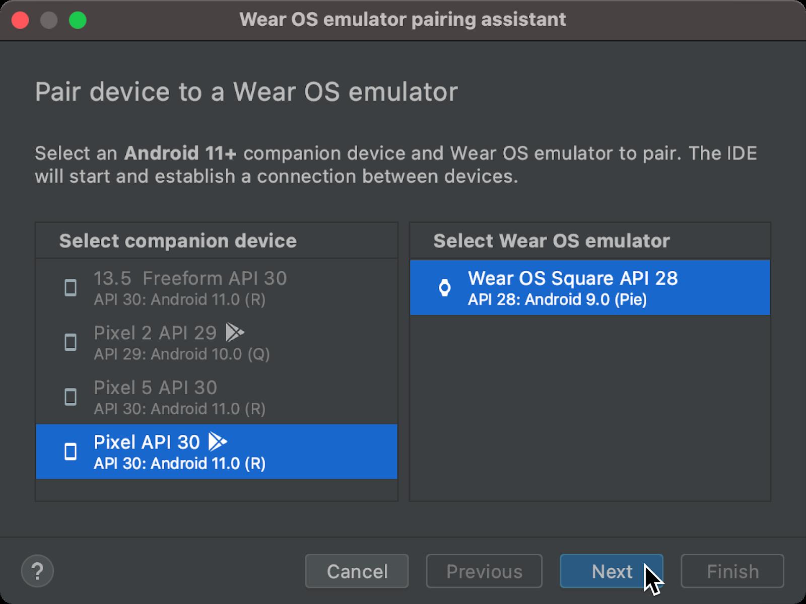 △ Wear OS 模拟器配对助手对话框