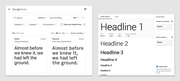 △ Google Font (左) 和字型缩放生成器 (右)